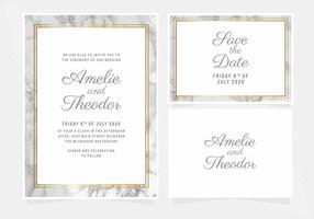 Convite de casamento de mármore de vetor