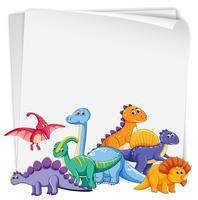 Dinossauro em papel em branco vetor