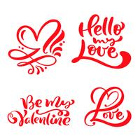 """Conjunto de palavra caligrafia vermelha """"amor"""", """"Olá meu amor"""", """"Be My Valentine"""""""