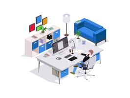 Estudo de homem de composição isométrica 3D, assento do designer na mesa, em torno da mobília interior e um sofá, mobiliário doméstico ou escritório.