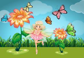 Fada e borboletas no jardim vetor