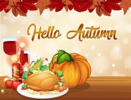 Modelo de cartão de outono de ação de Graças vetor