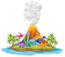 Muitos dinossauros na ilha vetor