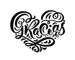 Mão de Gracias escrita letras coração. Caligrafia de escova moderna. Obrigado em espanhol Isolado no fundo. Amor de ilustração vetorial