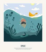 ilustração plana de verão, menino mergulhando em busca de pérolas vetor