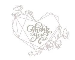 Obrigado cinza caligrafia letras vector texto no quadro de coração. Para a página de lista de design de modelo de arte, estilo de brochura de maquete, capa de ideia de bandeira, folheto de impressão de livreto, cartaz