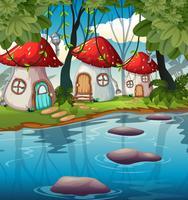 Casa de cogumelos encantada na natureza vetor