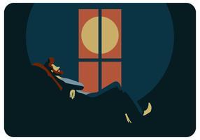 Relaxe a noite para o vetor mental de Healty