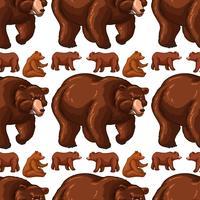 Plano de fundo sem emenda com ursos marrons vetor