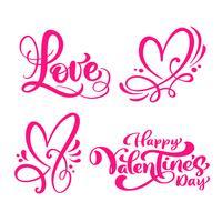 """Conjunto de palavras de caligrafia vermelho """"amor"""", """"feliz dia dos namorados"""" & corações"""