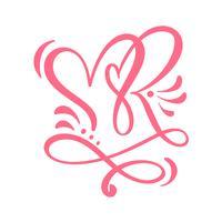 Dois corações de caligrafia de amante. Caligrafia artesanal vector. Decoração para cartão, caneca, sobreposições de foto, impressão de t-shirt, panfleto, design de cartaz