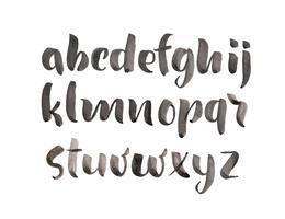 Estilo de pincel mão desenhada alfabeto fonte aquarela vetor