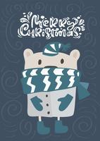 Feliz Natal caligrafia letras de texto. Cartão escandinavo de Natal. Entregue a ilustração desenhada do vetor de um urso engraçado bonito do inverno no lenço e no chapéu. Objetos isolados