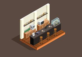 Estilo Isométrico Cafe Bar vetor