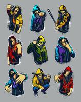 Vector conjunto de gangsters com capuz