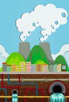 Usina Nuclear e Sistema Subterrâneo de Água vetor