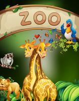 Zoo sinal e muitos animais vetor