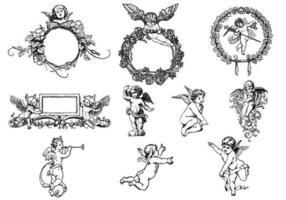 Pacote de vetores gravados com anjo