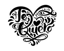 """Frase de caligrafia """"Te Quiero"""" em espanhol (""""Eu te amo"""") vetor"""