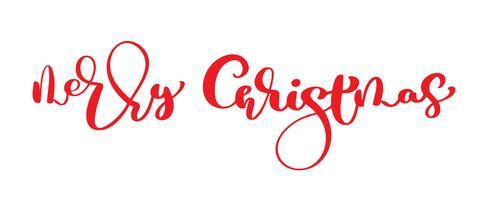 Texto vintage de vector vermelho feliz Natal. Modelo de cartão de design de letras caligráfico de escritos à mão. Tipografia criativa para o cartaz de presente de saudação de feriado. Estilo de fonte de caligrafia Banner isolado no fundo branco
