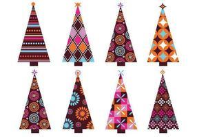 Pack de vetores de árvore de natal com padrões