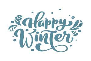 Texto azul do vetor da rotulação da caligrafia do vintage do Natal do inverno feliz com o inverno que tira a decoração escandinava. Para design de arte, estilo de brochura de maquete, capa de ideia de bandeira, folheto de impressão de livreto, cartaz