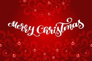 Texto de vetor de caligrafia feliz Natal com floreios. Projeto de rotulação no fundo vermelho. Tipografia criativa para o cartaz de presente de saudação de feriado. Faixa de estilo de fonte