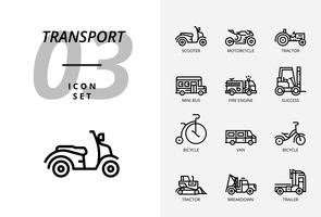 Pacote de ícones para transporte e veículos.