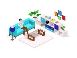 Homem isométrico da composição 3d que senta-se no sofá e que fala no telefone, em torno da mobília interior e de um sofá, mobiliário doméstico ou escritório.