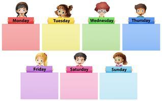 Crianças felizes e sete dias da semana vetor