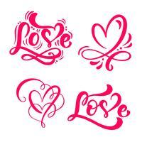 Conjunto de caligrafia vermelha palavra amor e corações