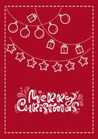 Cartão escandinavo do xmas vermelho com texto da rotulação da caligrafia do Feliz Natal. Mão desenhada ilustração vetorial de giro garaland. Objetos isolados