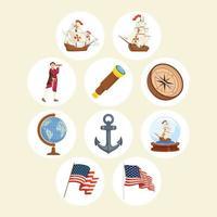 dez ícones do dia de colombo vetor