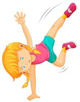 Menina em um handstand vetor