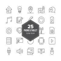 Conjunto de ícones de linha de telefone e tablet