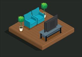 Estilo isométrico de sala de estar
