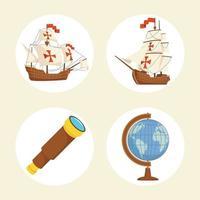 quatro ícones do dia de columbus vetor