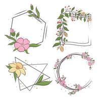 um conjunto de molduras de flores de diferentes formas. vetor