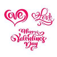 """Conjunto de texto de caligrafia vermelho """"feliz dia dos namorados"""" e """"amor"""""""
