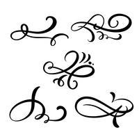 Conjunto de vetor linha vintage divisores elegantes, redemoinhos e cantos