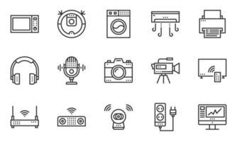 vetor de ícones de dispositivos eletrônicos domésticos, câmera, fone de ouvido, multimídia