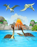 Dinossauros nadando no lago