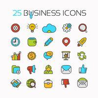 Conjunto de ícones de cores de linha com elementos de design plano de idéias de negócios, conceitos, símbolos. vetor