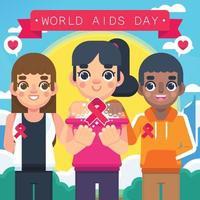 suporte do dia mundial da aids vetor
