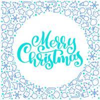 Texto do vetor da caligrafia do Feliz Natal com atributos do xmas. Projeto de rotulação no fundo branco. Tipografia criativa para o cartaz de presente de saudação de feriado. Faixa de estilo de fonte