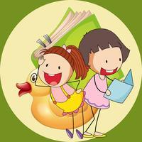 Dois, cute, meninas, livro leitura vetor