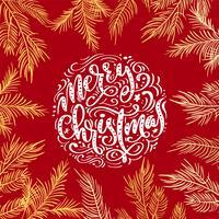 Projeto de rotulação caligráfico do texto do vetor do Feliz Natal no fundo vermelho. Tipografia criativa para o cartaz de presente de saudação de feriado. Faixa de estilo de fonte de caligrafia
