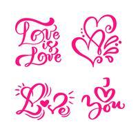 """Conjunto de palavras de caligrafia vermelho """"amor"""", """"amor é amor"""" e corações"""