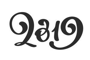 Handwritting vector caligrafia texto 2019. mão desenhada ano novo e Natal lettering número 2019. Ilustração para cartão de felicitações, convite, férias tag