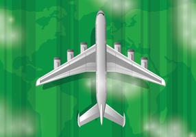 Avião realista com fundo de paisagem vetor